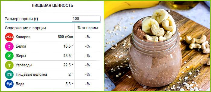 пищевая ценность ореха