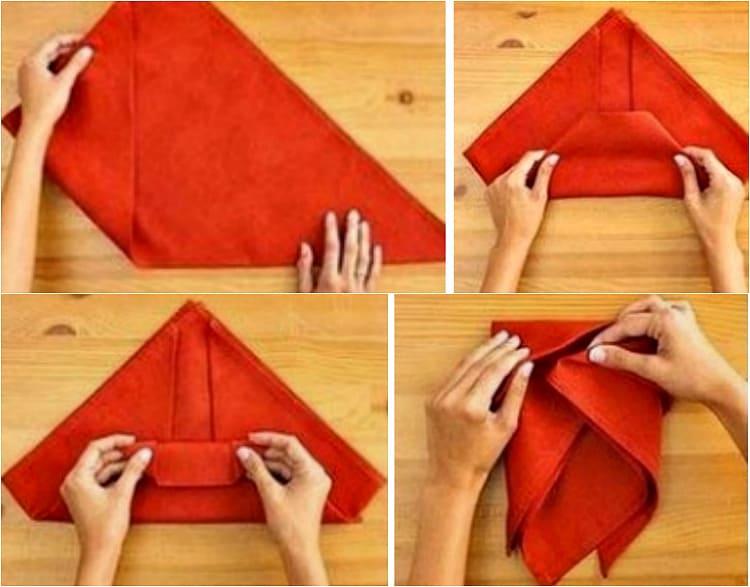 Как сложить бумажные и тканевые салфетки на сервировочном столе